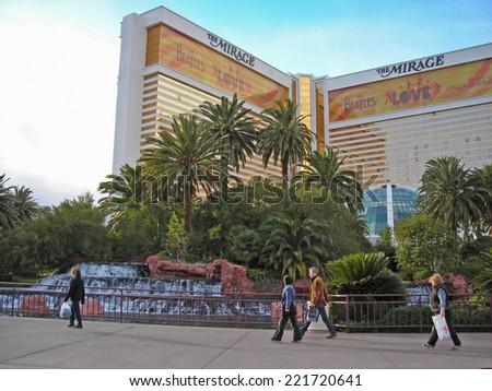LAS VEGAS, USA - JANUARY 12, 2007: The Mirage hotel in Las Vegas strip - stock photo
