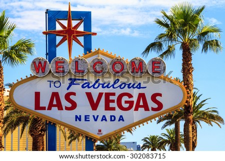 LAS VEGAS, USA - JUL 8 2015: The famous LAS VEGAS sign  in Las Vegas, USA. Las Vegas is one of the top tourist destinations in the world. About 40 million people visiting the city each year.  - stock photo