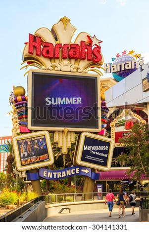 LAS VEGAS USA - JULY 7, 2015 - A Nebraska businessman lost $127 million in a single year at Harrahs owned properties, accounting for 5.6 percent of their gambling revenue that year, opened in 1973  - stock photo