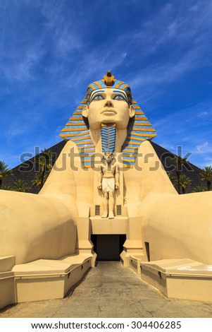 LAS VEGAS USA - JULY 5 2015: The Replica of Sphinx in front of Luxor Hotel in Las Vegas,  Luxor is Egypt-themed casino resort on the Strip.  About 40 million people visiting the city each year.  - stock photo