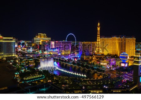 LAS VEGAS, USA - JULY 14 : World famous Vegas Strip in Las Vegas, Nevada as seen at night on July 14, 2016 in Las Vegas, USA