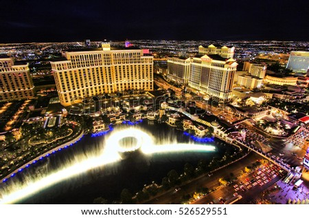 LAS VEGAS, USA - MARCH 18: Fountain show at Bellagio hotel and casino on March 18, 2013 in Las Vegas, USA. Las Vegas is one of the top tourist destinations in the world.