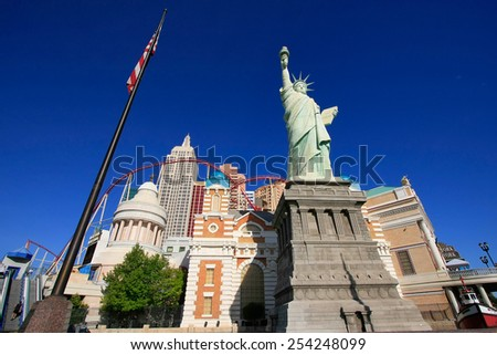 LAS VEGAS, USA - MARCH 19: New York - New York hotel and casino on March 19, 2013 in Las Vegas, USA. Las Vegas is one of the top tourist destinations in the world. - stock photo