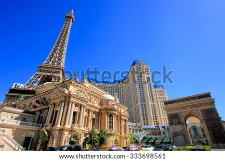 LAS VEGAS, USA - MARCH 19: Paris palace hotel and casino on March 19, 2013 in Las Vegas, USA. Las Vegas is one of the top tourist destinations in the world.