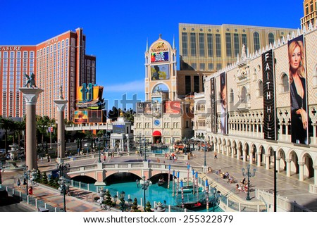 LAS VEGAS, USA - MARCH 19: Venetian Resort hotel and casino on March 19, 2013 in Las Vegas, USA. Las Vegas is one of the top tourist destinations in the world. - stock photo