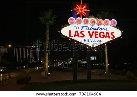 Las Vegas, USA, Nevada, July 26, 2017, Sign at the entrance of the city