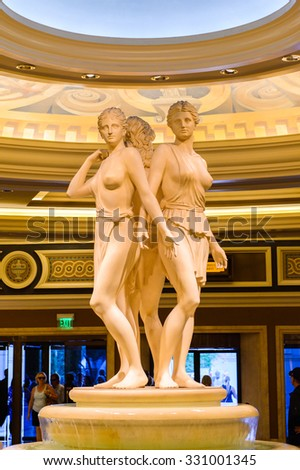 LAS VEGAS, USA - OCT 2, 2015: Fountain of the Caesar Palace Resort Casino in Las Vegas. This is one of the popular hotels on the Las Vegas Boulevard - stock photo