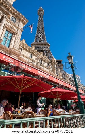 LAS VEGAS, USA  OCTOBER 6: Exterior of Paris Las Vegas at Las Vegas Boulevard on October 6, 2014 in Las Vegas. It is one of the largest hotels in Las Vegas with almost 3000 rooms.