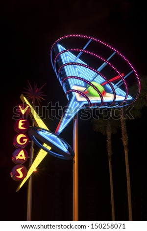 LAS VEGAS, USA - OCTOBER 1, 2012: Landmarks of The Las Vegas Strip. This the most famous street in Las Vegas is full of neon lights, glittering and shining all night. - stock photo