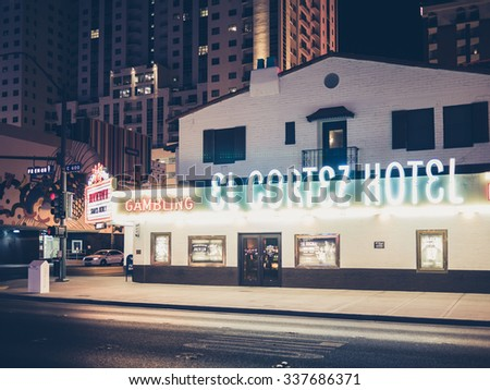 LAS VEGAS, USA - SEPTEMBER 09: Fremont Street on September 09, 2015 in Las Vegas, USA.It is an internationally renowned resort city known primarily for gambling, shopping, dining and nightlife. - stock photo