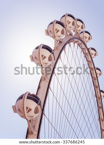 LAS VEGAS, USA - SEPTEMBER 10: High Roller ferris wheel on September 10,2015 in Las Vegas, USA.It is an internationally renowned resort city known primarily for gambling,shopping,dining and nightlife. - stock photo
