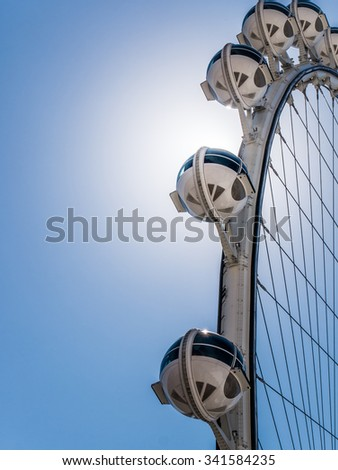 LAS VEGAS, USA - SEPTEMBER 10: High Roller ferris wheel on September 10, 2015 in Las Vegas, USA. It is a major resort city known primarily for gambling, shopping, fine dining and nightlife. - stock photo