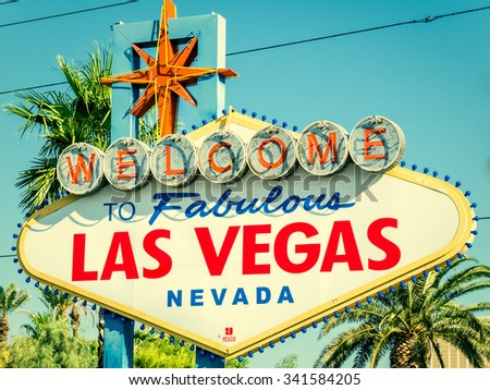 LAS VEGAS, USA - SEPTEMBER 11: LV sign on September 11, 2015 in Las Vegas, United States. It is a major resort city known primarily for gambling, shopping, fine dining and nightlife. - stock photo