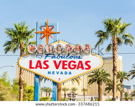 LAS VEGAS, USA - SEPTEMBER 11: LV sign on September 11, 2015 in Las Vegas, United States.It is an internationally renowned resort city known primarily for gambling, shopping, dining and nightlife. - stock photo