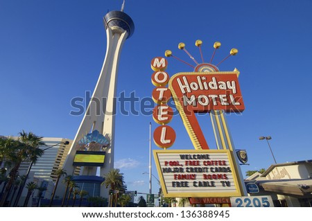 LAS VEGAS, USA - SEPTEMBER 1: Stratosphere on September 1, 2007 in Las Vegas: Stratosphere Tower is located on Las Vegas Boulevard and is the tallest observation tower in the United States. - stock photo