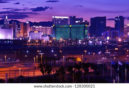 Las Vegas - Vages Strip at Night Panorama. Famous Cities Photo Collection. Las Vegas, Nevada, USA. - stock photo