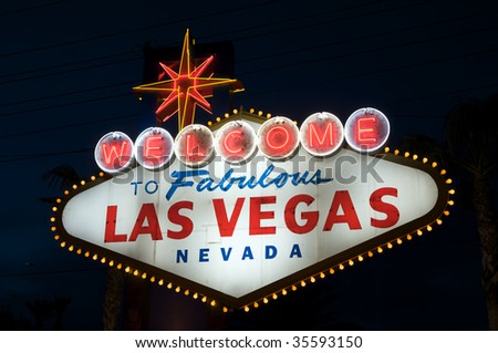 Las Vegas Welcome sign at night - stock photo