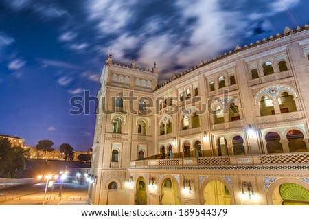 Las Ventas Bullring (Plaza de Toros de Las Ventas), a Neo-Mudejar (Moorish) style building situated in the Guindalera quarter of the district of Salamanca and home of bullfighting in Madrid, Spain.