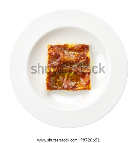 Lasagna alla bolognese traditional italian recipe with meat, tomato, parmigiano cheese, olive oil and lasagne pasta on a round plate isolated on white background. - stock photo