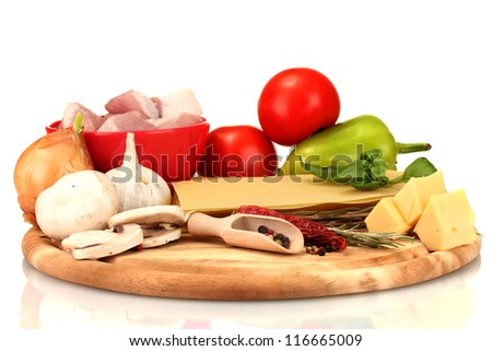 Lasagna ingredients isolated on white - stock photo