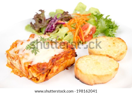 lasagna isolated on white