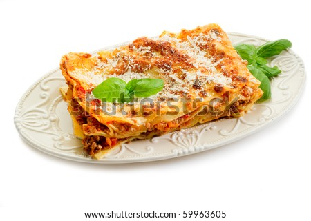 lasagna on dish - stock photo