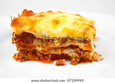 lasagna portion closeup - stock photo