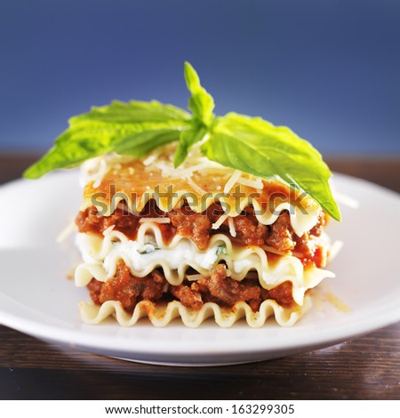 Lasagna with basil and melted cheese - stock photo