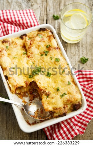Lasagna with beef and tomato sauce - stock photo