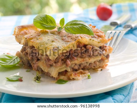 lasagna with cheese and meat, selective focus