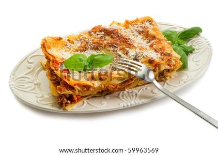lasagne on dish - stock photo