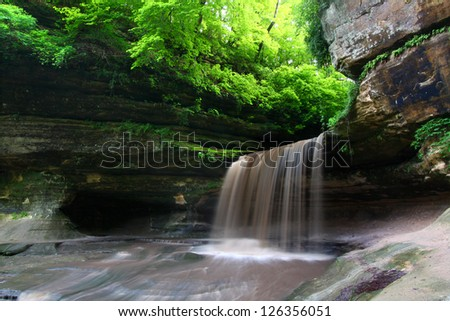 Lasalle Falls at Starved Rock State Park in Illinois - stock photo
