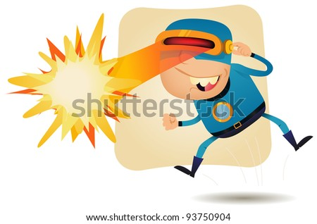 Laser Beam Head - Comic Superhero/ Illustration of a funny cartoon superhero character using his super power, laser blast from the eyes - stock photo