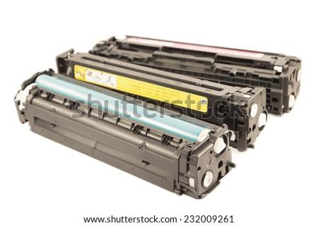 Laser cartridges isolated on a white background - stock photo