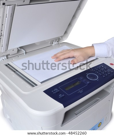 Laser copier and fax, isolated. - stock photo