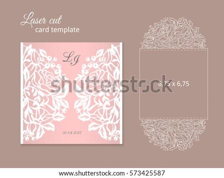 Laser Cut Invitation Card Template Wedding Stock
