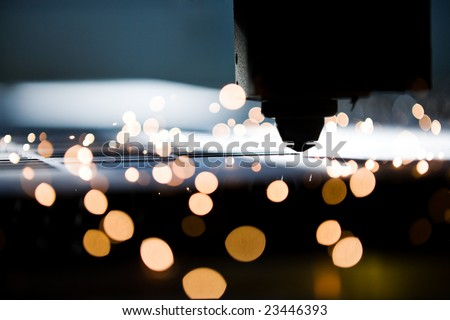 Laser cutting close up - stock photo