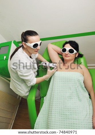 laser depilation and skincare treatment in spa and beauty studio - stock photo