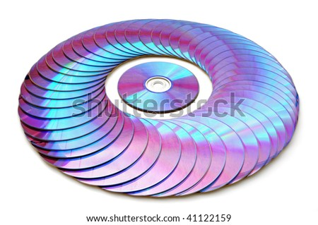 Laser disks on a white background - stock photo