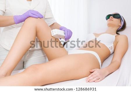 Laser epilation treatment - stock photo