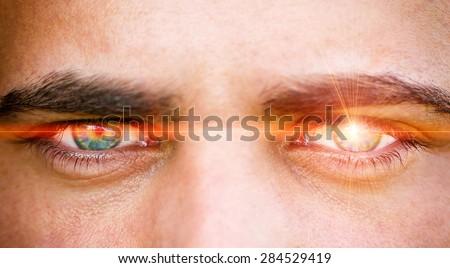 Laser eye - stock photo
