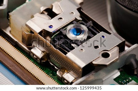 Laser head from cd/dvd player - stock photo