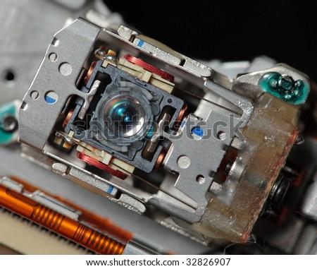 laser lens of dvd drive macro - stock photo