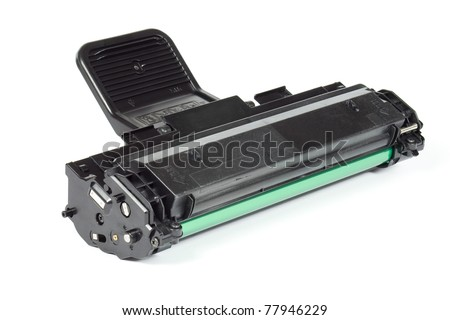 Laser printer toner cartridge isolated on white background