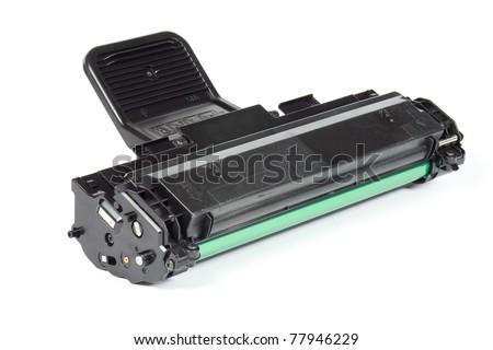 Laser printer toner cartridge isolated on white background - stock photo