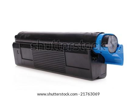 Laser printer toner cartridge shot over white background - stock photo