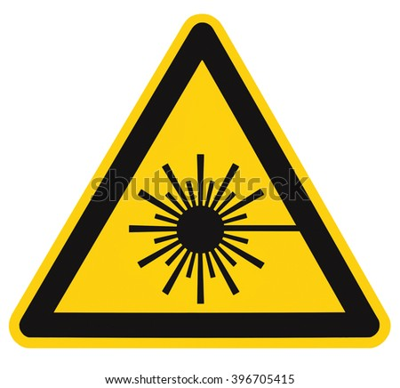 Laser radiation hazard safety danger warning sign sticker label, high power beam icon signage, isolated, black triangle over yellow, large macro closeup