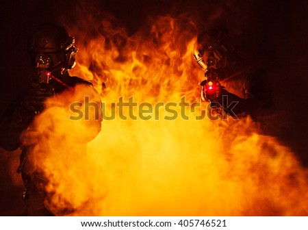 laser sights in the smoke - stock photo