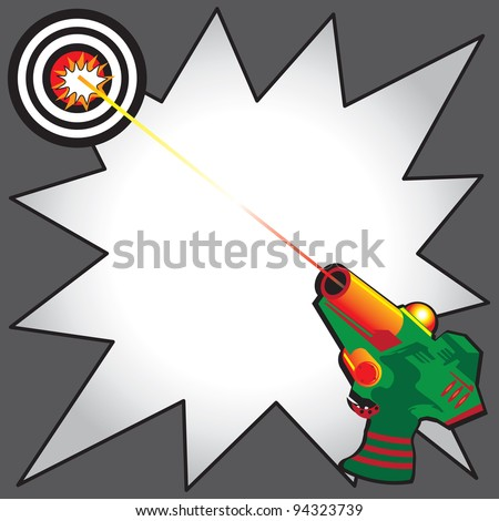 Laser Tag Party Invitation with colorful laser gun blasting a laser beam at a bulls eye target.  Comic Book inspired starburst to write your info