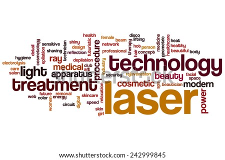 Laser word cloud concept with technology modern related tags - stock photo